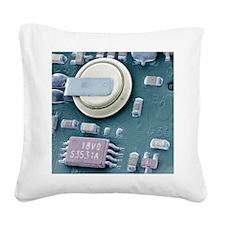Circuit board battery, SEM Square Canvas Pillow