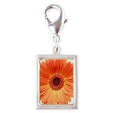 Orange Gerbera Daisy Silver Portrait Charm
