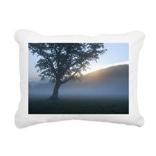 Tree in a misty field at Rectangular Canvas Pillow