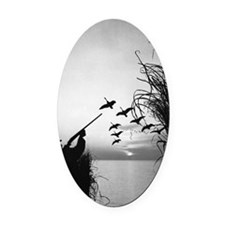 Man duck-hunting Oval Car Magnet
