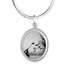 Man duck-hunting Silver Oval Necklace