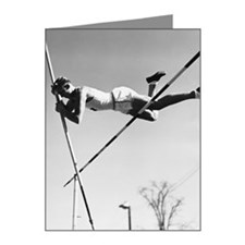 Male pole-vaulter clearing b Note Cards (Pk of 20)