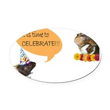 Piggy Celebration Oval Car Magnet