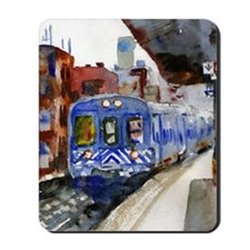NYC Blue Train Bathroom Mousepad