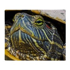 A red-eared slider turtle Throw Blanket