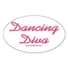 Dancing Diva (pink) Oval Decal