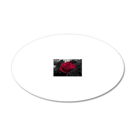 Red rose pop color 20x12 Oval Wall Decal