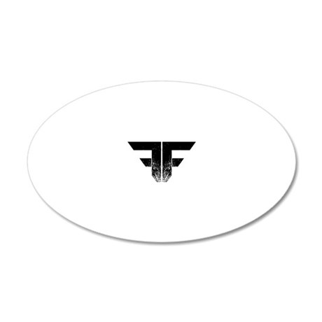 FF Logo Black on White 20x12 Oval Wall Decal