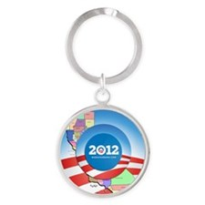 California for Obama Round Keychain