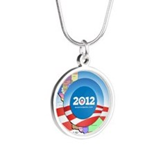 California for Obama Silver Round Necklace