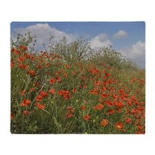 Red Poppies with Spring Flowers Throw Blanket