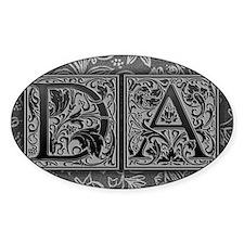 DA initials. Vintage, Floral Decal