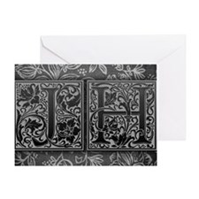JH initials. Vintage, Floral Greeting Card
