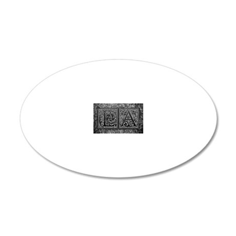 LA initials. Vintage, Floral 20x12 Oval Wall Decal