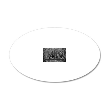 ND initials. Vintage, Floral 20x12 Oval Wall Decal