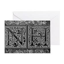 NH initials. Vintage, Floral Greeting Card