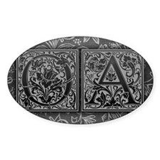 OA initials. Vintage, Floral Decal