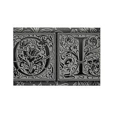 OI initials. Vintage, Floral Rectangle Magnet
