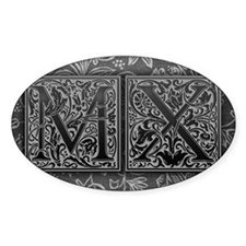 MX initials. Vintage, Floral Decal