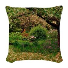Spring blossoms and bluebells Woven Throw Pillow