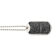 SF initials. Vintage, Floral Dog Tags