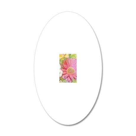 Pastel Flower Journal 20x12 Oval Wall Decal