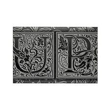 UP initials. Vintage, Floral Rectangle Magnet