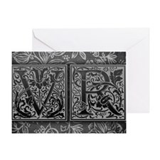 VR initials. Vintage, Floral Greeting Card