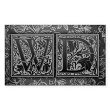 WD initials. Vintage, Floral Decal