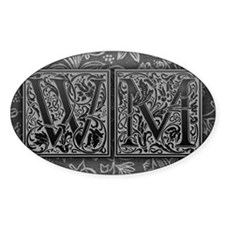 WM initials. Vintage, Floral Decal