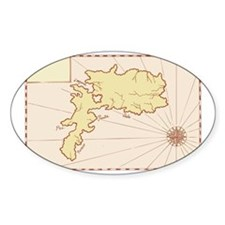 Vintage Map of Island Decal