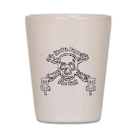 Skull and Bones Disc Golf White Shot Glass