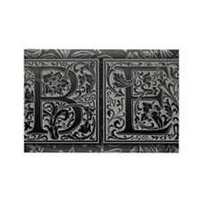 BE initials. Vintage, Floral Rectangle Magnet
