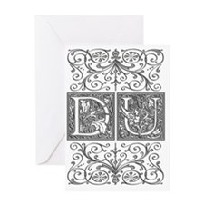 DU, initials, Greeting Card