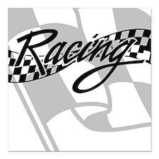 "Racing Flag Square Car Magnet 3"" x 3"""