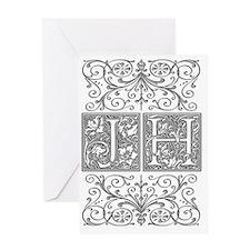 JH, initials, Greeting Card