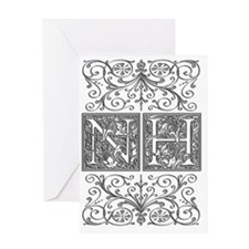 NH, initials, Greeting Card