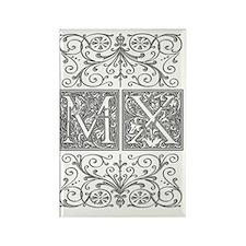 MX, initials, Rectangle Magnet