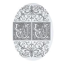 UU, initials, Oval Ornament
