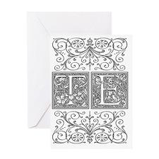 TE, initials, Greeting Card