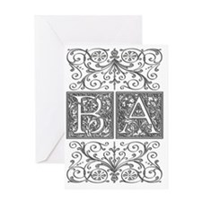BA, initials, Greeting Card