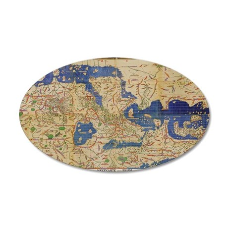 Al-Idrisi's world map, 1154 35x21 Oval Wall Decal