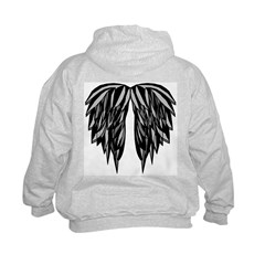 Black/Goth Angel wings on back Kids Hoodie