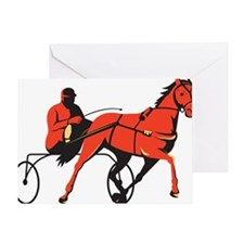 harness horse cart racing retro Greeting Card
