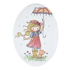 In the Rain Oval Ornament