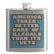 illegal Alien/vets 3 x 3 sticker Flask