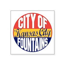 "Kansas City Vintage Square Sticker 3"" x 3"""
