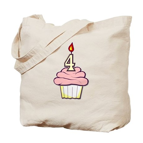 Girl Cupcake 4th Birthday Tote Bag