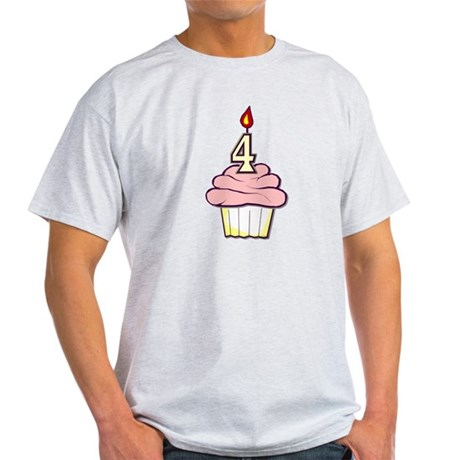 Girl Cupcake 4th Birthday Light T-Shirt