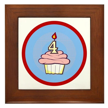 Girl Cupcake 4th Birthday Framed Tile